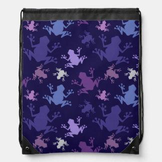 Modelo de la rana; Púrpura, violeta, lavanda, ciru Mochila