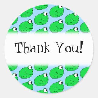 Modelo de la rana verde. Gracias Pegatina Redonda