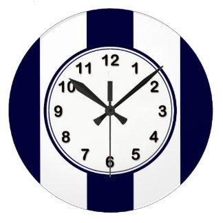 Modelo de la raya de la extra grande de los azules reloj redondo grande