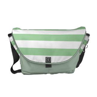 Modelo de la raya de la verde menta y del blanco bolsa de mensajeria