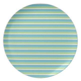 Modelo de la raya del verde azul platos