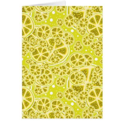 Modelo de la rebanada de la fruta del limón tarjeta de felicitación
