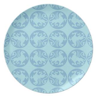 Modelo de la silueta de Gryphon - azul claro Platos Para Fiestas
