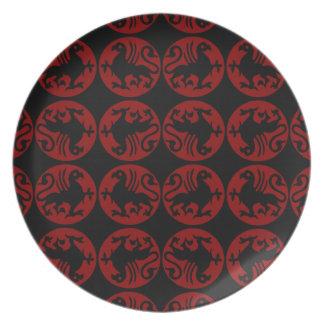 Modelo de la silueta de Gryphon - rojo y negro Plato De Cena