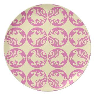 Modelo de la silueta de Gryphon - rosado y amarill Plato De Cena