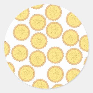 Modelo de la tarta de las natillas pegatina redonda