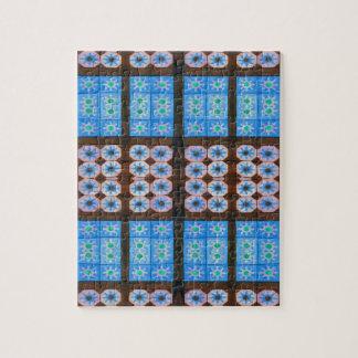 modelo de la teja del marrón azul puzzle