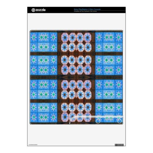 Modelo de la teja del marrón azul consola PS3 slim skin
