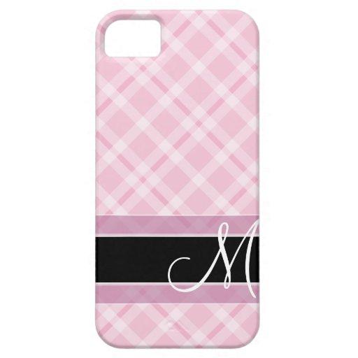 Modelo de la tela escocesa con el monograma - rosa iPhone 5 carcasa