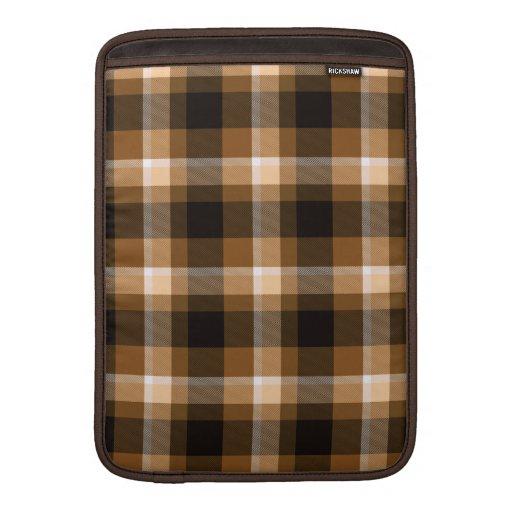 Modelo de la tela escocesa de Brown Funda Para Macbook Air