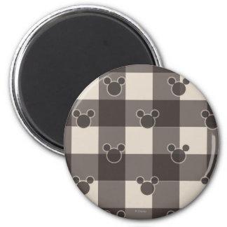 Modelo de la tela escocesa de Mickey Mouse el   Imán Redondo 5 Cm