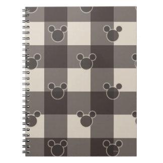 Modelo de la tela escocesa de Mickey Mouse el   Spiral Notebooks