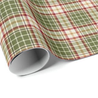 Modelo de la tela escocesa del navidad del papel de regalo