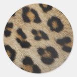 Modelo de la textura de la piel del leopardo pegatina redonda