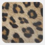 Modelo de la textura de la piel del leopardo pegatinas cuadradases personalizadas