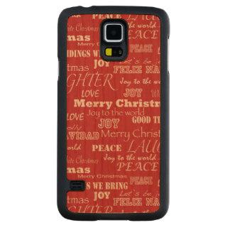 Modelo de la tipografía de las Felices Navidad Funda De Galaxy S5 Slim Cerezo