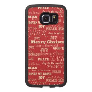 Modelo de la tipografía de las Felices Navidad Funda De Madera Para Samsung Galaxy S6 Edge