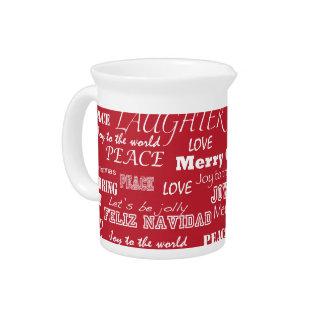Modelo de la tipografía de las Felices Navidad Jarras Para Bebida
