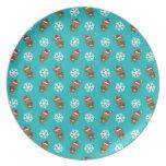Modelo de la turquesa del copo de nieve del reno platos para fiestas