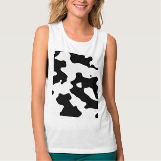 Modelo de la vaca blanco y negro playera de tirantes anchos