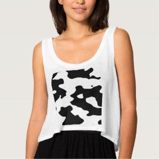 Modelo de la vaca blanco y negro playera de tirantes holgada