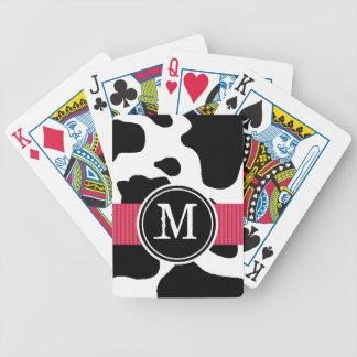 Modelo de la vaca lechera con con monograma rojo barajas de cartas