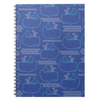 Modelo de las ballenas azules spiral notebook
