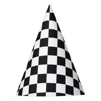 Modelo de las carreras de coches/del ajedrez + su gorro de fiesta