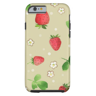 Modelo de las fresas de la acuarela funda para iPhone 6 tough