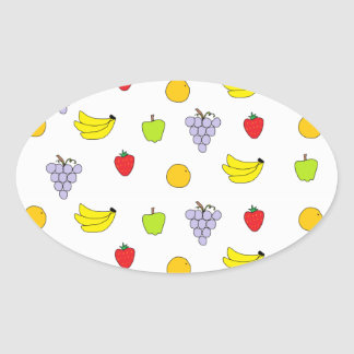 Modelo de las frutas pegatina ovalada