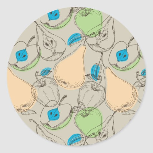 Modelo de las frutas pegatina redonda