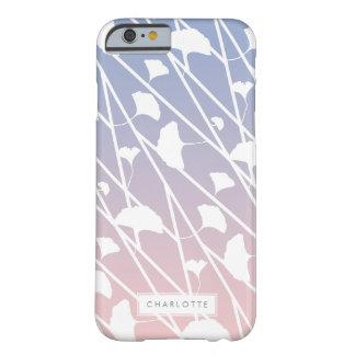 Modelo de las hojas del cuarzo color de rosa y del funda de iPhone 6 barely there