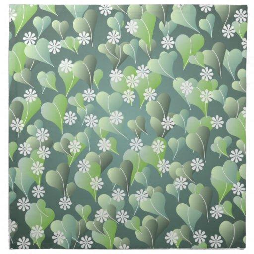 Modelo de las hojas del verde y de flores blancas servilleta
