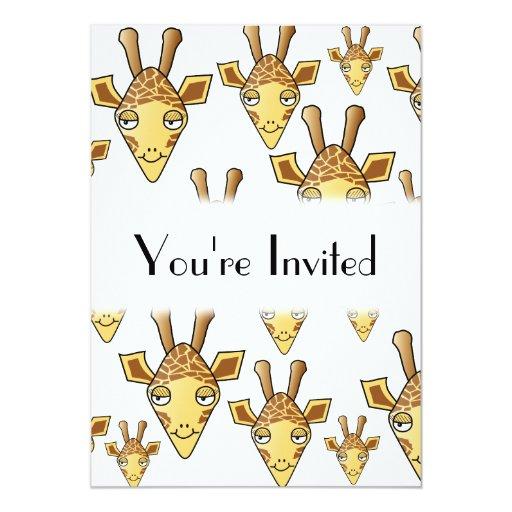 """Modelo de las jirafas invitación 5"""" x 7"""""""