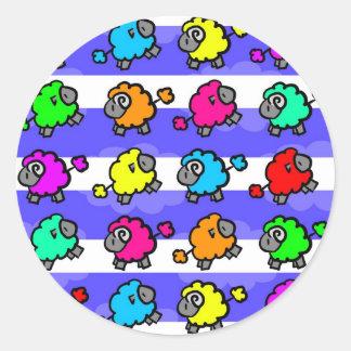 Modelo de las ovejas pegatina redonda