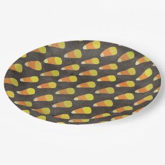 Modelo de las pastillas de caramelo de Halloween Plato De Papel De 9 Pulgadas