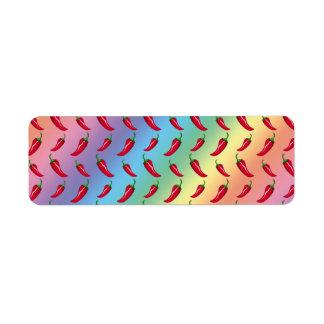 Modelo de las pimientas de chile del arco iris etiquetas de remite
