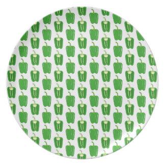 Modelo de las pimientas verdes platos