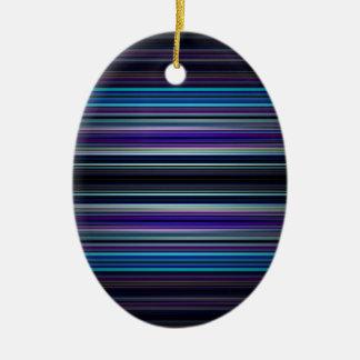 Modelo de las rayas azules adorno navideño ovalado de cerámica