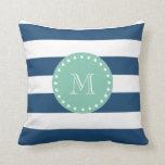 Modelo de las rayas de azules marinos, monograma d cojines