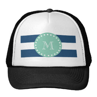 Modelo de las rayas de azules marinos, monograma d gorras de camionero