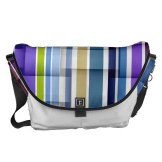Modelo de las rayas púrpuras y azules bolsa de mensajería