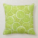 Modelo de las rebanadas verdes de la cal almohadas