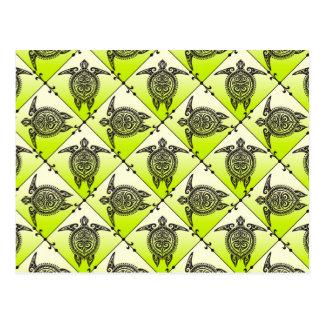 Modelo de las tortugas de mar de Shamanic - verde Tarjetas Postales