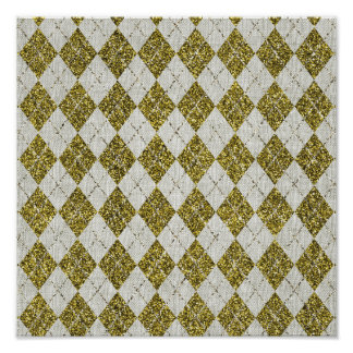 Modelo de lino beige de Argyle del brillo del oro Poster