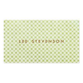 Modelo de lino verde claro elegante del círculo de plantillas de tarjetas personales