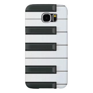 Modelo de llaves blanco y negro elegante del piano fundas samsung galaxy s6