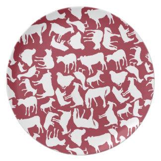 Modelo de los animales del campo plato de cena