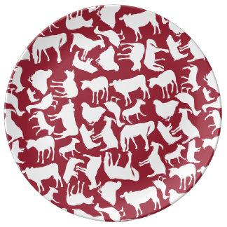 Modelo de los animales del campo plato de cerámica
