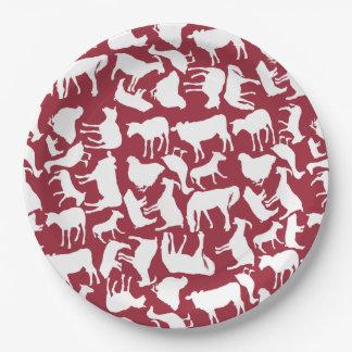 Modelo de los animales del campo platos de papel